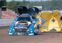 Aug 18, 2019; Brainerd, MN, USA; NHRA funny car driver Shawn Langdon during the Lucas Oil Nationals at Brainerd International Raceway. Mandatory Credit: Mark J. Rebilas-USA TODAY Sports