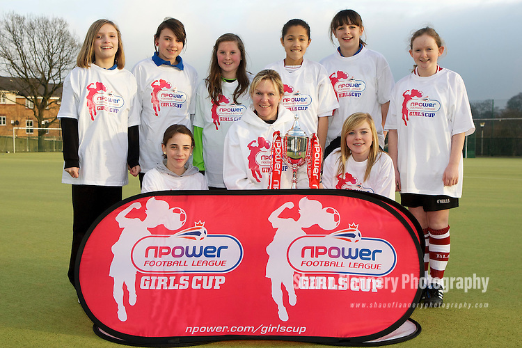 Pix: Shaun Flannery/shaunflanneryphotography.com...COPYRIGHT PICTURE>>SHAUN FLANNERY>01302-570814>>07778315553>>..31st January 2011............The npower Football League Girls Cup - King Ecgbert School, Sheffield..England ladies football team captain, Faye White, visits the U13's girl's football team training session. The team have progressed through to the Regional Final's and will represent Sheffield United in the competition..L-R (Back) Charlotte French, Sadie Bosworth, Teagan Alen-Warwick,  India Thompson-Carr, Samantha Tierney, Hannah Koszalinski (front) Tilly Hallas-Potts, Caroline Brown, Daisy Hope.