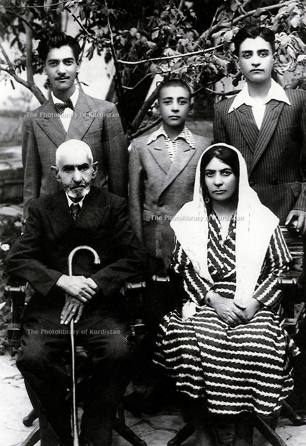 Iran 1944. Mohammed Agha Ghassemlou and his wife Fatima with their sons from left to right, Hussein, Abdul Rahman and Ali<br /> <br /> Iran 1944. Mohammed Agha Ghassemlou et sa femme Fatima, avec leurs fils de gauche a droite, Hussein, Abdul Rahman et Ali