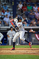 Mahoning Valley Scrappers left fielder Oscar Gonzalez (39) at bat during a game against the Williamsport Crosscutters on July 8, 2017 at BB&T Ballpark at Historic Bowman Field in Williamsport, Pennsylvania.  Williamsport defeated Mahoning Valley 6-1.  (Mike Janes/Four Seam Images)