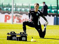 24th April 2021; Easter Road, Edinburgh, Scotland; Scottish Cup fourth round, Hibernian versus Motherwell; Matt Macey of Hibernian warms up before kick off