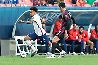 DENVER, CO - JUNE 6: Weston McKennie #8 of the United States moves with the ball during a game between Mexico and USMNT at Mile High on June 6, 2021 in Denver, Colorado.