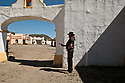 Spain - Andalusia - Matias Nahuel Castañeda Scavone, a 38 year old Argentinian stuntman who has been featured in several movies and music videos holding a gun in the Mexican pueblo in Fort Bravo.