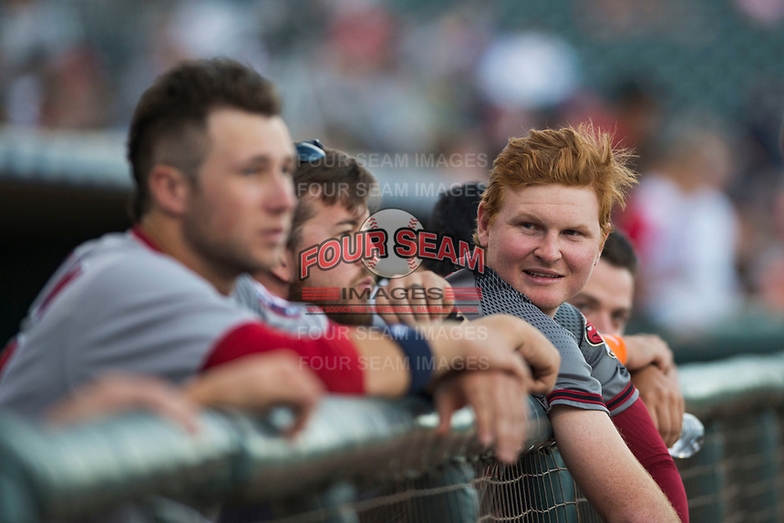 Salt River Rafters first baseman Pavin Smith (44), of the Arizona Diamondbacks organization and member of the AFL East, in the dugout before the Fall Stars game at Surprise Stadium on November 3, 2018 in Surprise, Arizona. The AFL West defeated the AFL East 7-6 . (Zachary Lucy/Four Seam Images)