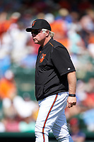 Baltimore Orioles manager Buck Showalter (26) walks to the dugout after a mound visit during a Spring Training game against the Minnesota Twins on March 7, 2016 at Ed Smith Stadium in Sarasota, Florida.  Minnesota defeated Baltimore 3-0.  (Mike Janes/Four Seam Images)