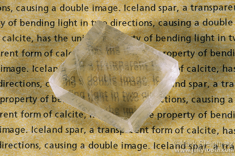 Iceland Spar, a form of calcite, creates a double image due to refraction.