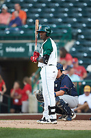 Dwanya Williams-Sutton (11) of the Fort Wayne TinCaps looks to his third base coach for the signs during the game against the Bowling Green Hot Rods at Parkview Field on August 20, 2019 in Fort Wayne, Indiana. The Hot Rods defeated the TinCaps 6-5. (Brian Westerholt/Four Seam Images)