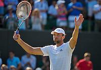 England, London, Juli 04, 2015, Tennis, Wimbledon, Ivo Karlovic (CRO) celebrates his win over Jo-Wilfried Tsonga (FRA)<br /> Photo: Tennisimages/Henk Koster