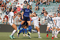 CARY, NC - SEPTEMBER 12: Amy Rodriguez #12 of the North Carolina Courage heads the ball during a game between Portland Thorns FC and North Carolina Courage at Sahlen's Stadium at WakeMed Soccer Park on September 12, 2021 in Cary, North Carolina.