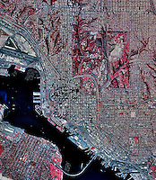historical infrared aerial photograph of San Diego, California, 1996