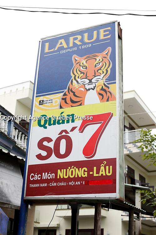 La Rue beer sign<br /> <br />  in Hoi An