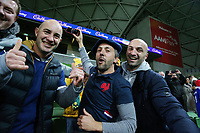 13th July 2021; AAMI Park, Melbourne, Victoria, Australia; International test rugby, Australia versus France; France supporters celebrate their win by 26-28 points