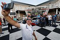 Winners #73 LA Honda World Racing Honda Civic TCR, TCR: Mike LaMarra, Mat Pombo and team, podium, team owner Luis Perocarpi, champagne, selfie