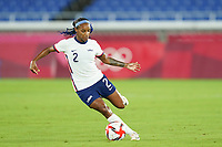 YOKOHAMA, JAPAN - JULY 30: Crystal Dunn #2 of the United States shoots the ball during a game between Netherlands and USWNT at International Stadium Yokohama on July 30, 2021 in Yokohama, Japan.