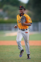 Victor Rodriguez (16) during the WWBA World Championship at Terry Park on October 11, 2020 in Fort Myers, Florida.  Victor Rodriguez, a resident of Winter Springs, Florida who attends Montverde Academy, is committed to Florida International.  (Mike Janes/Four Seam Images)