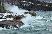 Lake Superior was calling us on Christmas day, so we postponed our special dinner and headed up the shore to see the lake at her finest. We found the Maiden of the Mist at Tettegouche State Park where the waves were rockin'.<br /> <br /> During the 2016 Christmas Day storm, the temperatures were mild in the upper 20s (F) but easterly winds were sustained at 35 mph, gusting to 50 mph at times. Conditions were challenging as we were frequently buffeted by strong winds and the thunderous explosions of waves sent spray flying far and wide.<br /> <br /> At times it looked as if the majestic lake was gracefully dancing in slow motion, and at other times it appeared to be fiercely power-washing the rugged shorelines. We continue to be humbled by Lake Superior, mesmerized by her waves, and in awe of her raw power.
