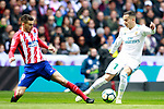 Real Madrid's Lucas Vazquez (r) and Atletico de Madrid's Lucas Hernandez during La Liga match. April 8,2018. (ALTERPHOTOS/Acero)