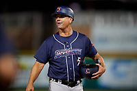 Jacksonville Jumbo Shrimp manager Randy Ready (5) during a game against the Pensacola Blue Wahoos on August 15, 2018 at Blue Wahoos Stadium in Pensacola, Florida.  Jacksonville defeated Pensacola 9-2.  (Mike Janes/Four Seam Images)