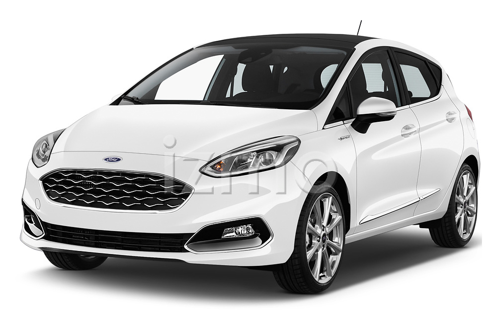 2018 Ford Fiesta Vignale Base 5 Door Hatchback angular front stock photos of front three quarter view