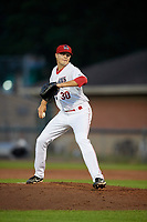 Auburn Doubledays pitcher Jake Cousins (30) delivers a pitch during a game against the Connecticut Tigers on August 9, 2017 at Falcon Park in Auburn, New York.  Connecticut defeated Auburn 6-4.  (Mike Janes/Four Seam Images)