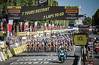 yellow jersey / GC leader Tadej Pogacar (SVN/UAE-Emirates) and his team lined up while crossing the finish line on the Champs-Élysées for a first time today.<br /> <br /> Stage 21 (Final) from Chatou to Paris - Champs-Élysées (108km)<br /> 108th Tour de France 2021 (2.UWT)<br /> <br /> ©kramon