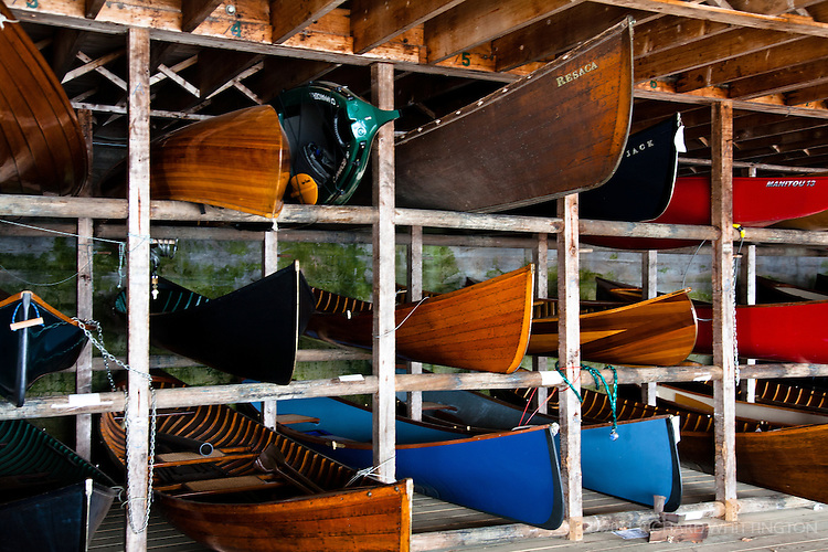 Vintage wooden canoes, Adirondack League Club.