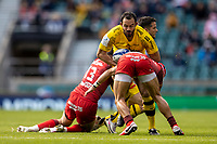 22nd May 2021; Twickenham, London, England; European Rugby Champions Cup Final, La Rochelle versus Toulouse; Geoffrey Doumayrou of La Rochelle is tackled by Juan Cruz Mallia of Toulouse