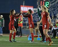San Diego, Ca - Sunday, January 21, 2018: Alex Morgan Lynn Williams during a USWNT 5-1 victory over Denmark at SDCCU Stadium.