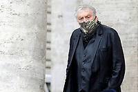 Actor Maurizio Mattioli during the funeral of the Italian actor Gigi Proietti. The actor was taken to the Globe Theatre for a short ceremony before the one in the church of Artist in Piazza del popolo.<br /> Rome (Italy), November 5th 2020<br /> Photo Samantha Zucchi Insidefoto
