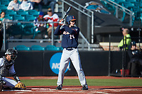NathanAide (29) of the Illinois Fighting Illini at bat against the Coastal Carolina Chanticleers at Springs Brooks Stadium on February 22, 2020 in Conway, South Carolina. The Fighting Illini defeated the Chanticleers 5-2. (Brian Westerholt/Four Seam Images)