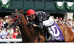 April 11, 2014: Sabbatical and jockey Joseph Rocco, Jr. win the 4th race, Maiden $58,000.  Candice Chavez/ESW/CSM