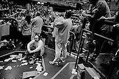 Chicago, Illinois<br /> March 28, 2008 <br /> <br /> Chicago Mercantile Exchange - traders on the open outcry Euro/Dollar pit as markets continue to swing at 100+ points a day up or down. The mortgage crisis is being played out on Wall Street and world's financial markets.