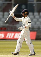 15th April 2021; Emirates Old Trafford, Manchester, Lancashire, England; English County Cricket, Lancashire versus Northants; Josh Bohannon of Lancashire brings up his half century after lunch on the first day