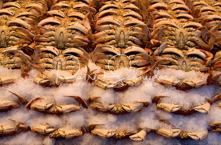 Crabs on sale at Pike Place Market in Seattle Washington.