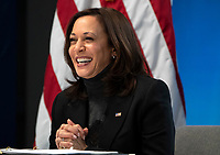 United States Vice President Kamala Harris meets with women leaders in Congress and advocacy organizations on the American Rescue Plan, during a virtual roundtable on the American Rescue Plan, at the Eisenhower Executive Office Building in Washington, DC on Thursday, February 18, 2021. The Rescue Plan includes direct payments to those in need, money to help reopen schools and extended unemployment benefits. <br /> CAP/MPI/RS<br /> ©RS/MPI/Capital Pictures