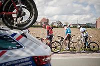 mid-race (rainbow) nature break<br /> <br /> 74th Dwars door Vlaanderen 2019 (1.UWT)<br /> One day race from Roeselare to Waregem (BEL/183km)<br /> <br /> ©kramon
