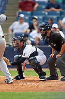 New York Yankees catcher Austin Romine (43) and umpire Mark Wagner await the pitch during a Spring Training game against the Detroit Tigers on March 2, 2016 at George M. Steinbrenner Field in Tampa, Florida.  New York defeated Detroit 10-9.  (Mike Janes/Four Seam Images)