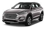 2019 Hyundai Tucson Shine 5 Door SUV angular front stock photos of front three quarter view