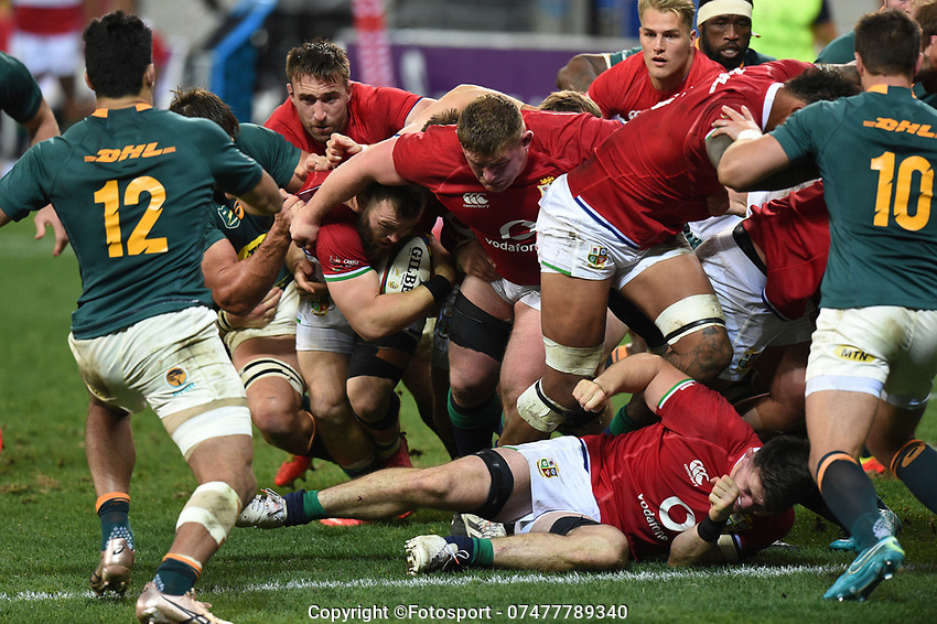 The British & Irish Lions forwards start the drive that leads to their only try of the match for Luke Cowan-Dickie early (with ball) in the second half.<br /> South Africa v British & Irish Lions, 1st Test, Cape Town Stadium, Cape Town, South Africa,  Saturday 24th July 2021. <br /> Please credit: FOTOSPORT/DAVID GIBSON