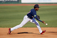 Elizabethton Twins shortstop Yeltsin Encarnacion (17) flips to second base during a game against the Bristol Pirates on July 28, 2018 at Joe O'Brien Field in Elizabethton, Tennessee.  Elizabethton defeated Bristol 5-0.  (Mike Janes/Four Seam Images)