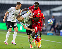 12th September 2020; Pride Park, Derby, East Midlands; English Championship Football, Derby County versus Reading; Mike Te Wierik of Derby County and Lucas Santos Joao of Reading clash for the ball