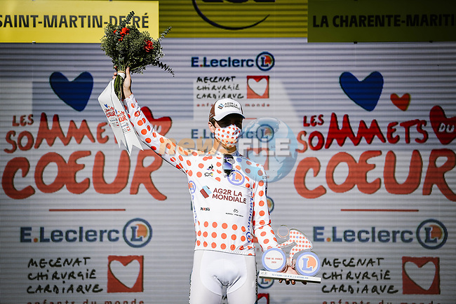 Benoit Cosnefroy (FRA) AG2R La Mondial retains the mountains Polka Dot Jersey at the end of Stage 10 of Tour de France 2020, running 168.5km from Ile d'Oléron to Ile de Ré, France. 8th September 2020.<br /> Picture: ASO/Pauline Ballet | Cyclefile<br /> All photos usage must carry mandatory copyright credit (© Cyclefile | ASO/Pauline Ballet)