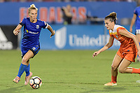 Frisco, TX - Sunday September 03, 2017: Jess Fishlock and Cari Roccaro during a regular season National Women's Soccer League (NWSL) match between the Houston Dash and the Seattle Reign FC at Toyota Stadium in Frisco Texas. The match was moved to Toyota Stadium in Frisco Texas due to Hurricane Harvey hitting Houston Texas.
