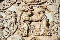 Bas-relief sculpture panel scene from the Bible by Maitani around 1310 on the14th century Tuscan Gothic style facade of the Cathedral of Orvieto, Umbria, Italy