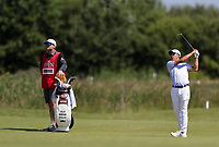 16th July 2021; Royal St Georges Golf Club, Sandwich, Kent, England; The Open Championship Tour Golf, Day Two; Collin Morikawa (USA) hits his third shot on the par five 14th