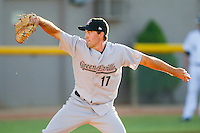 Relief pitcher Garrett Bullock #17 of the Greeneville Astros in action against the Bristol White Sox at Boyce Cox Field July 2, 2010, in Bristol, Tennessee.  Photo by Brian Westerholt / Four Seam Images