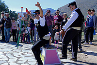 Pictured: Dancers in traditional costumes take part in the celebrations in Tirnavos, central Greece. Monday 11 March 2019<br /> Re: Bourani (or Burani) the infamous annual carnival which dates to 1898 which takes place on the day of (Clean Monday), the first days of Lent in Tirnavos, central Greece, in which men hold phallus shaped objects as scepters in their hands.