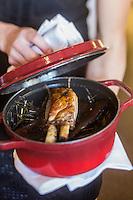 France, Haute-Savoie (74), Veyrier-du-Lac, Caïon cuit en cocotte aux aromes de regain, artichaut de mon enfance recette de Yoann Conte élève de Marc Veyrat restaurant: La nouvelle maison de Marc Veyrat à l' Auberge de l'Eridan //France, Haute Savoie, Veyrier du Lac, Pig cooked in a casserole with aromas of hay reciepe by Yoann Conte student Marc Veyrat restaurant: La nouvelle maison de Marc Veyrat  at Auberge de l'Eridan