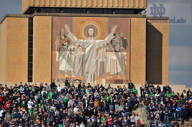 Oct. 29, 2011; Touchdown Jesus looks into Notre Dame Stadium...Photo by Matt Cashore