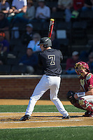 Kevin Conway (7) of the Wake Forest Demon Deacons at bat against the Florida State Seminoles at David F. Couch Ballpark on April 16, 2016 in Winston-Salem, North Carolina.  The Seminoles defeated the Demon Deacons 13-8.  (Brian Westerholt/Four Seam Images)